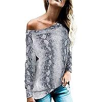 FRAUIT Mujer Otoño Camisetas,Camiseta con Estampado de Serpiente