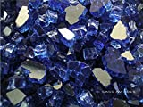 Fireglass Fireplace Fire Pit Glass, Cobalt Reflective Chunky 1/2