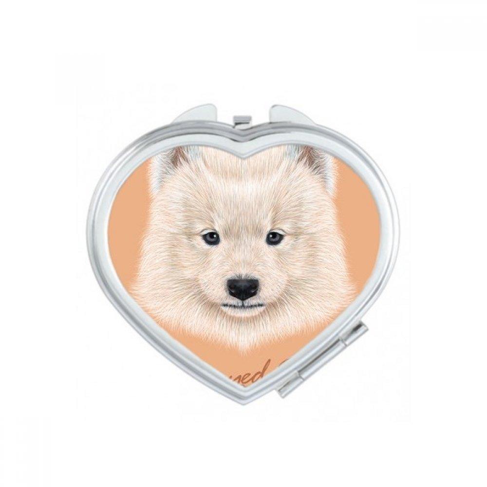 Blanco Perro Samoyedo Pet Animal corazó n compacto Maquillaje espejo de bolsillo portá til cute pequeñ a mano espejos regalo DIYlab sku00217086f16454