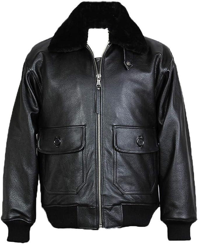 毛皮襟純正レザージャケット、男性牛レザーエアフライトボンバージャケット冬のコート
