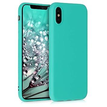 kwmobile Funda para Apple iPhone X - Carcasa para móvil en [TPU Silicona] - Protector [Trasero] en [Turquesa neón]