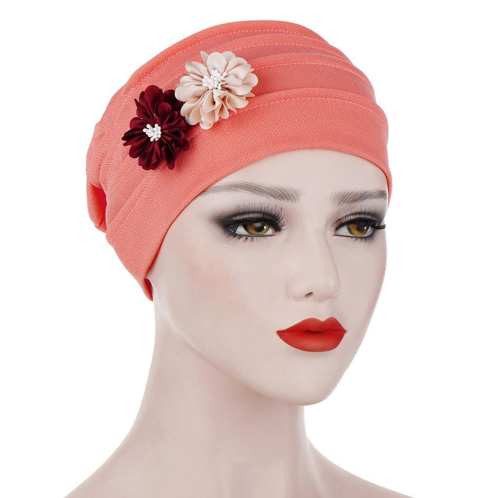KCPer Ruffle Chemo Turban Headband Scarf Beanie Cap Hat for Cancer Patient Women Solid Floral India Hat Muslim Ruffle Cancer Chemo Beanie Turban Wrap Cap