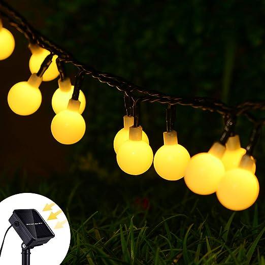 Lvydec Solar Guirnalda Luces Exterior, 8 modos 50LEDs guirnalda luminosa bolas para exterior/interior, jardín, patio, valla, árbol, navidad y decoraciones de boda (blanco cálido): Amazon.es: Iluminación