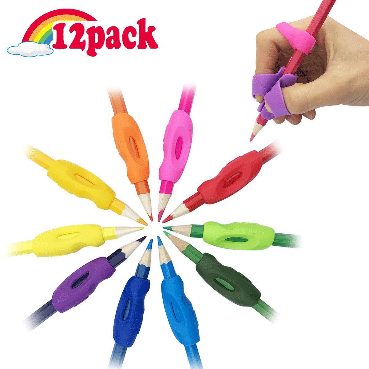 Children Pencil Holder Writing Aid Grip Trainer,New Design Ergonomic Rainbow Pen Grip Posture Correction Training Tools for Kids Set of 12 PCS LINFEN Pencil Grip