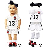 ELJRBCK 18 Inch Doll Clothes-Team USA Soccer Outfits Uniform-Compatible with 18 inch American Girl , My Life Doll and Our Gen