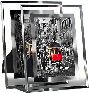 Giftgarden 2pcs 4x6 Glass Picture Frames Bundle with 10 PCS Multi Picture Frames Set