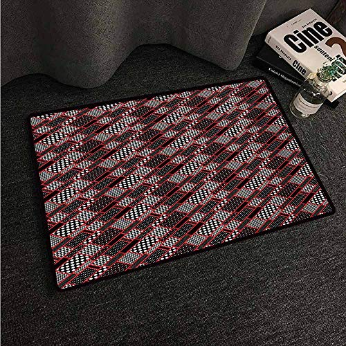 (HCCJLCKS Non-Slip Door mat Red and Black Geometric Rectangle Frames Retro Patterns Polka Dots and Houndstooth Non-Slip Door mat pad Machine can be Washed W31 xL47 Black White Scarlet)