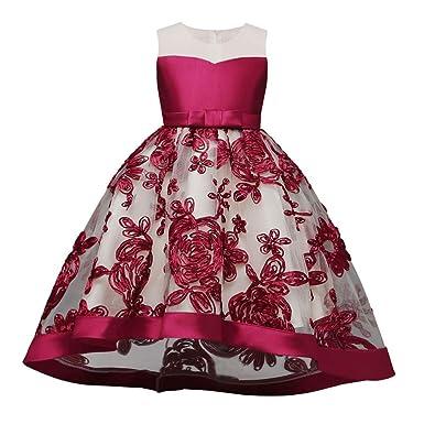 cd8f30d1dd6eb 子供服 ドレス Lucaso 人気 女の子 チュール 刺繍 和風 花柄 ロングドレス 可愛いフォーマル 結婚