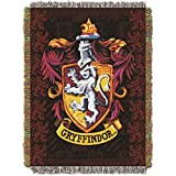 N-A 1 Piece 48 X 60 Red Black Harry Potter Theme Throw Blanket, Gryffindor Crest Houses Of Hogwarts School Of Witchcraft And Wizardry Bedding Movie Book Series Wizard Woven Tapestry, Polyester