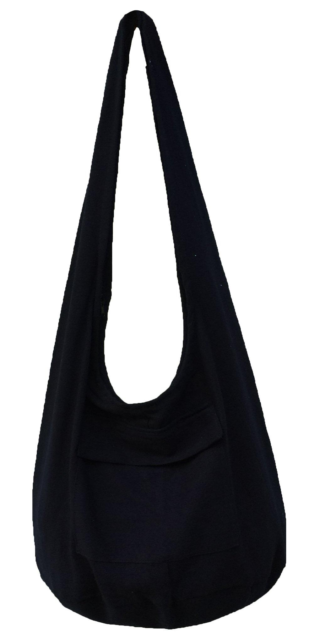 Thai Bag Tribal Bag Hmong Bag Boho Bag Striped Bag Ethnic Striped Thai Cotton Boho Sling Tribal Crossbody Bag Shoulder Bag Thai Pattern Bag Thai Top Zip Handmade Asia Bag (Black)