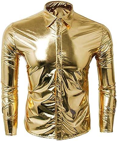 Discount Boutique Camisa de Hombre Botón de Manga Larga Pintado Superficie Brillante Top Plateado metálico Brillante Camisa Slim fit Camisa Party Club: Amazon.es: Ropa y accesorios