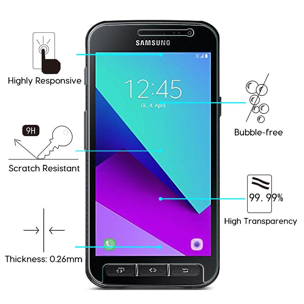 OMOTON Protector Pantalla Compatible para Samsung Galaxy Xcover 4 Cristal Templado, 2.5 D Borde Redondeado, Anti-burbujas, Anti-despegamiento [2 Piezas]: ...