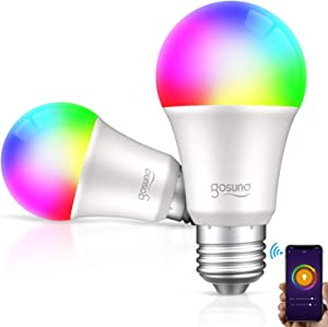 Gosund Smart Light Bulb LED RGB Color Changing Bulbs That Compatible with Alexa Google Home, E26 A19 8W Multicolor Lights Bulb, No Hub Required, 2.4GHz Only, 2 Pack