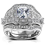 Engagement Rings for Women - Clear Cubic Zirconia Silver Color Female Filigree Stackable Wedding Ring Set