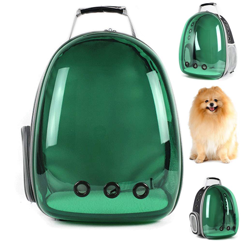 Green Panoramic Transparency Pet Cat Bubble Backpack,Portable Pet Travel Carrier Space Capsule Pet Handbag Breathable Suitable for Cats and Dogs Capsule Style Lined with Absorbent Pads,Green