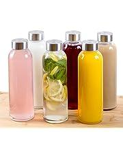 Estilo, Botellas de Vidrio para Agua de 18 oz, Tapa de Acero Inoxidable, Caja por 6 Unidades