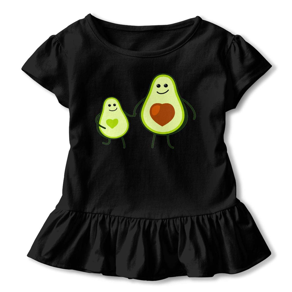 Avocado Kid and Mom Toddler Baby Girls Cotton Ruffle Short Sleeve Top Comfortable T-Shirt 2-6T