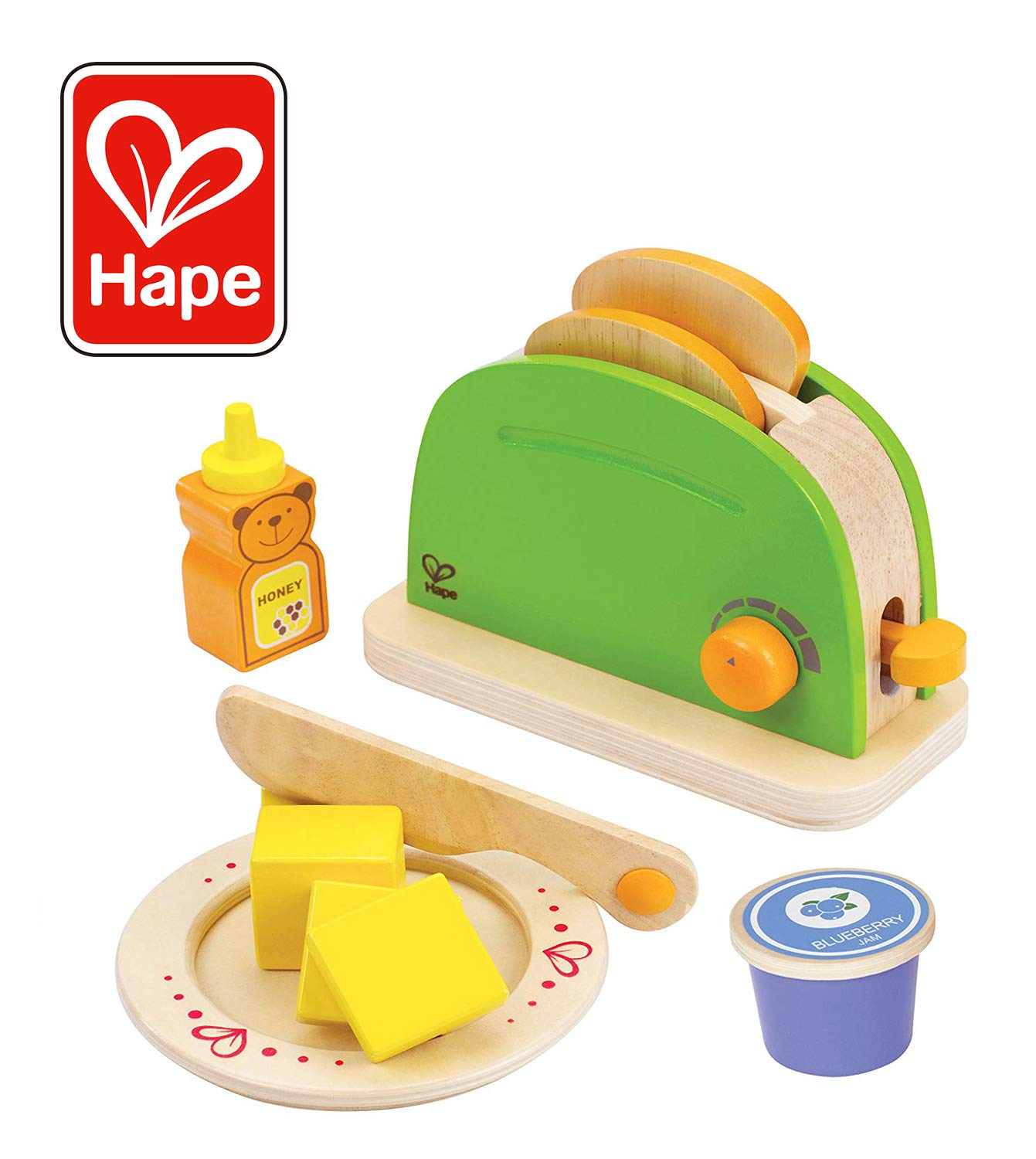 Hape - Playfully Delicious - Pop Up Toaster Wooden Play Kitchen Set with BONUS Blueberry Jam by Hape