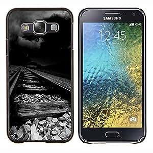 Desgastado ferrocarril tormenta Oscuro Negro- Metal de aluminio y de plástico duro Caja del teléfono - Negro - Samsung Galaxy E5 / SM-E500