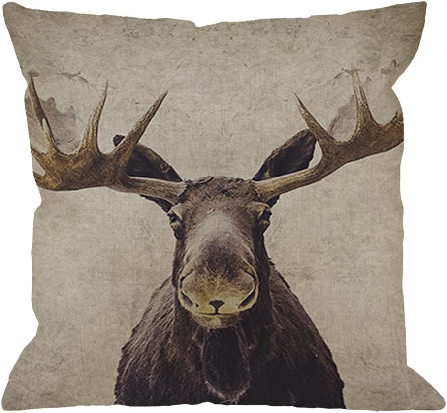 HGOD DESIGNS Moose Throw Pillow Case Cotton Linen Square Cushion Cover Standard Pillowcase for Men Women Home Decorative Sofa Armchair Bedroom Livingroom 18 x 18 inch