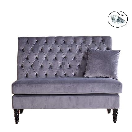 Amazon Com Velvet Modern Tufted Settee Bench Bedroom Sofa High Back