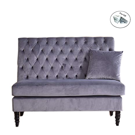 Amazon.com: Velvet Modern Tufted Settee Bench Bedroom Sofa ...