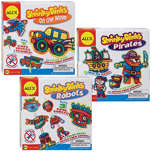 Alex Toys Bundle 3 of Shrinky Dinks Kits for Boys - Pirates, Cars, Robots