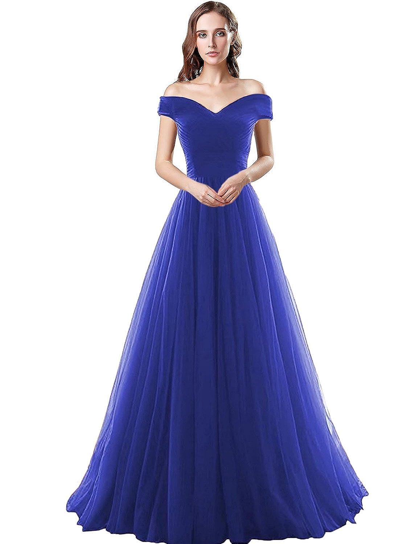 Clearbridal Damen Tüll Bandeau Lang Abendkleid Ballkleid Abschlusskleid Prinzessin SQS16422