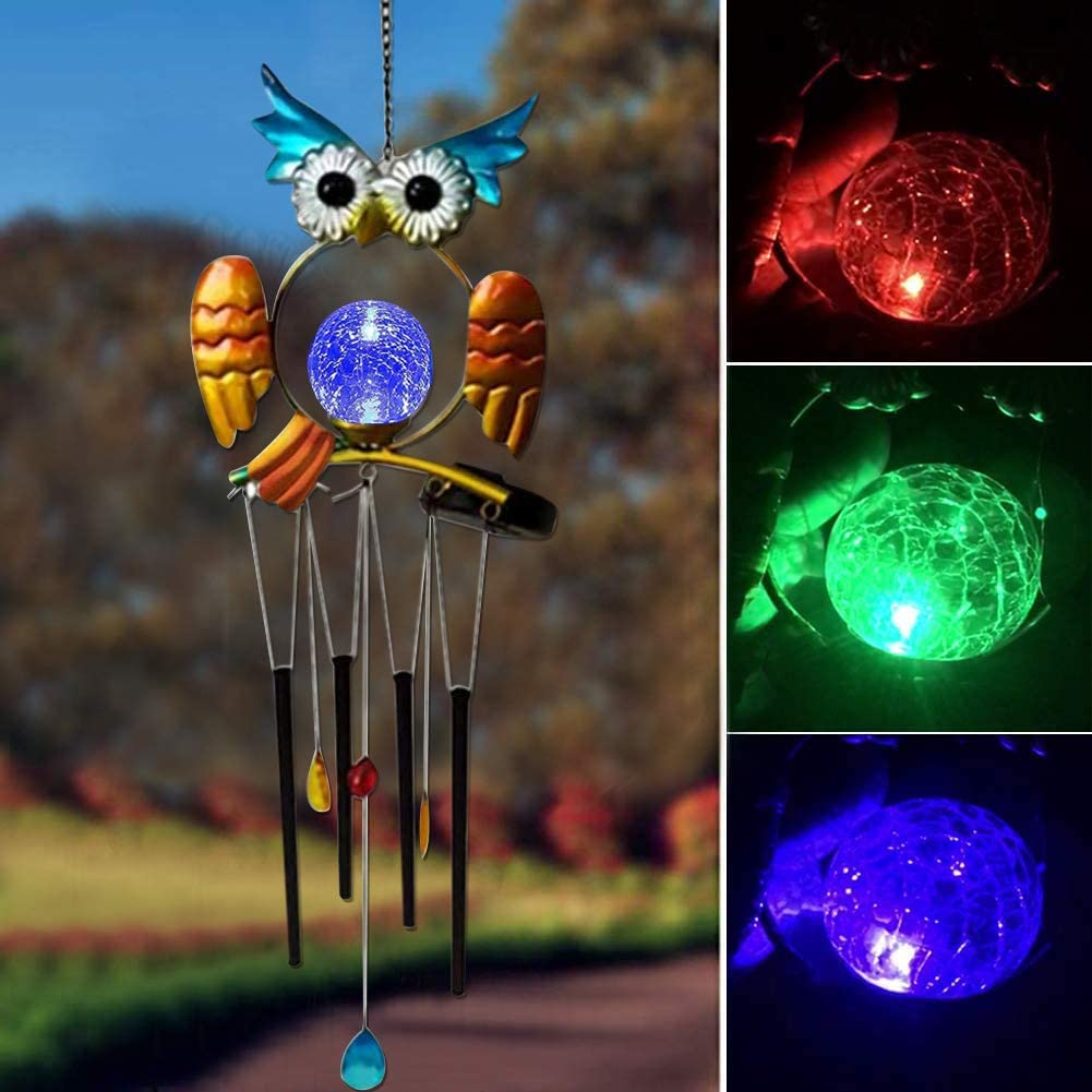 Owl Solar Wind Chime,Solar Powered Lights with Aluminium Tubes for Ringing Decorations for Garden Outdoor Lawn Patio Yard Porch