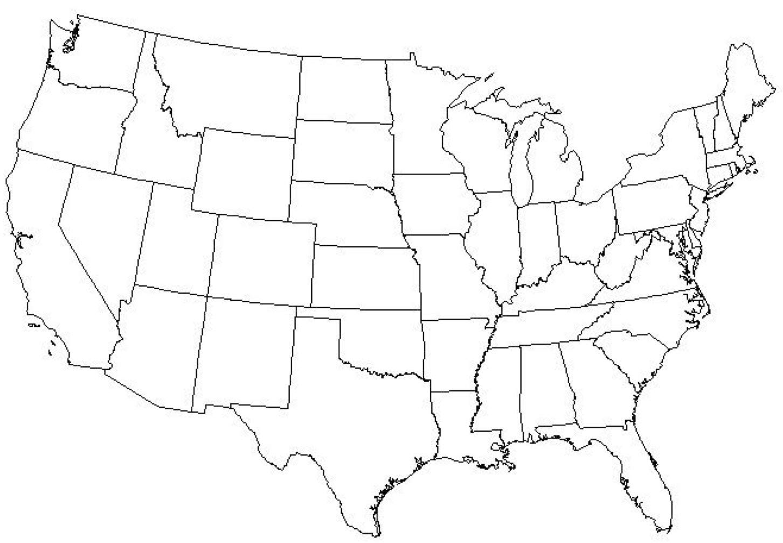 Amazon.com: Laminated Map - Blank Copy Map The Us Mexico ...