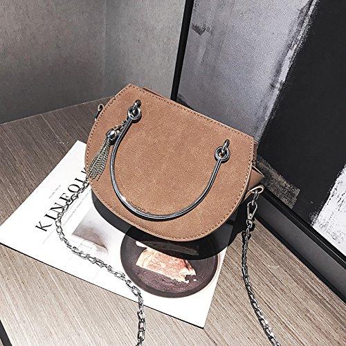 JUSTYOU-POPO Señoras Bolso Nuevo Bolso de Moda Retro Pequeño Bolso de la Cadena del Bolso Simple Messenger BagGift, C C