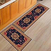 """Kitchen Rugs, CAMAL 2 Pieces European Style Printed Kitchen Carpet Rubber Backing Doormat Runner Rug Set (20""""x31""""+20""""x63"""", Color 08)"""