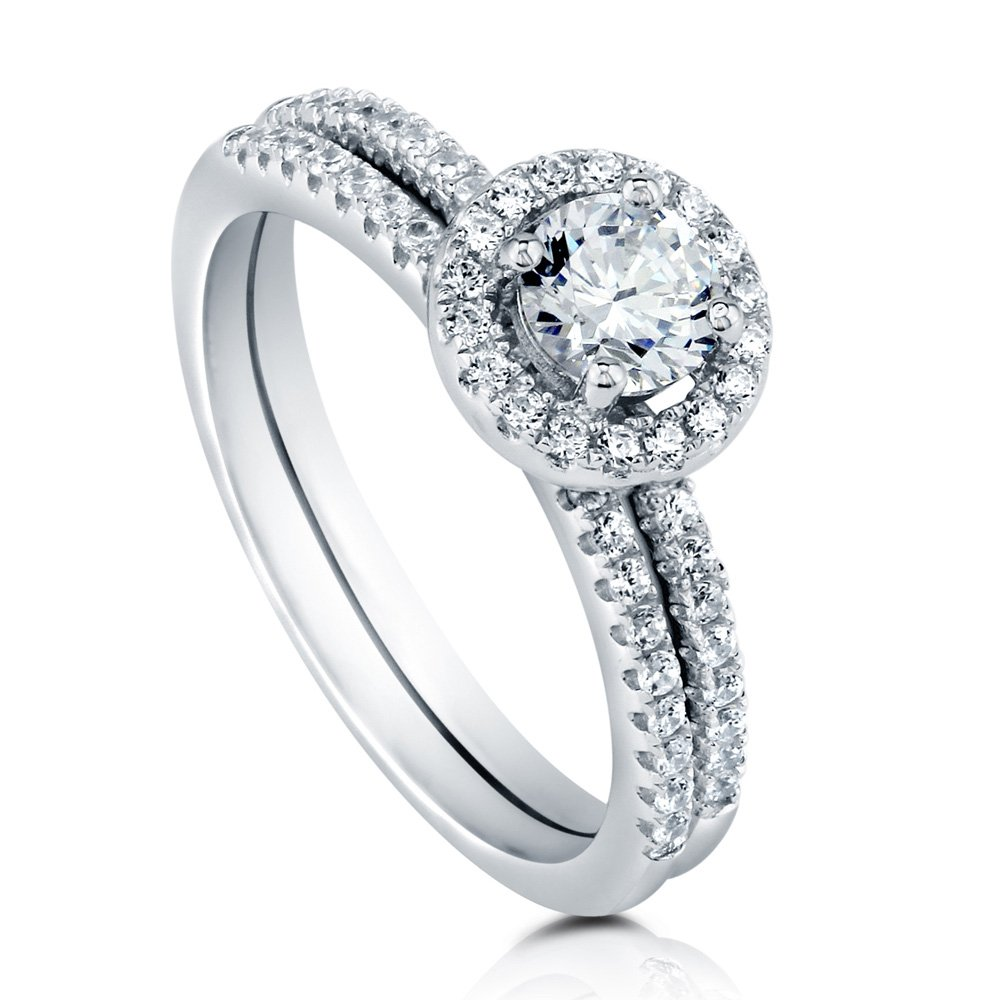 BERRICLE Rhodium Plated Sterling Silver Halo Promise Ring Set Made with Swarovski Zirconia Size 8