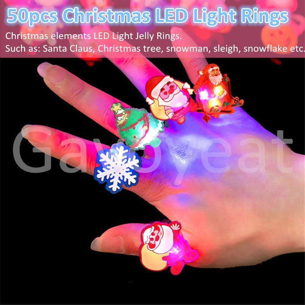 Gavoyeat Christmas LED Ring Luminous Flash Finger Rings Toys 50 Pack Party Favor Blinking Jelly Rubber Rings Kids Adults Gifts Box Sets