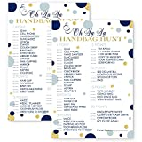 Handbag Hunt Party Game - Abstract Navy and Gold Design (25 Cards)