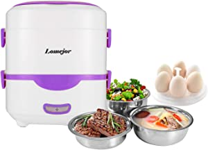 Lomejor Self Cooking Electric Lunch Box, Mini Rice Cooker, Multi-function Cooking Steaming Lunch Box for Home Office School Cook Raw Food, 1.5L/110V/ Purple