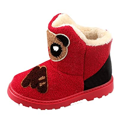 Cattior Little Kid Animal Pattern Thick Warm Cute Fur Boots Kids Snow Boots (12.5 M, Red)