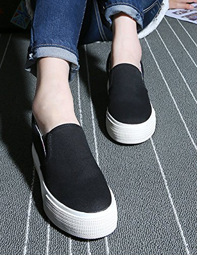 Aisun Dames Trendy Slip Op Instappers Canvas Schoenen Sneakers Zwart