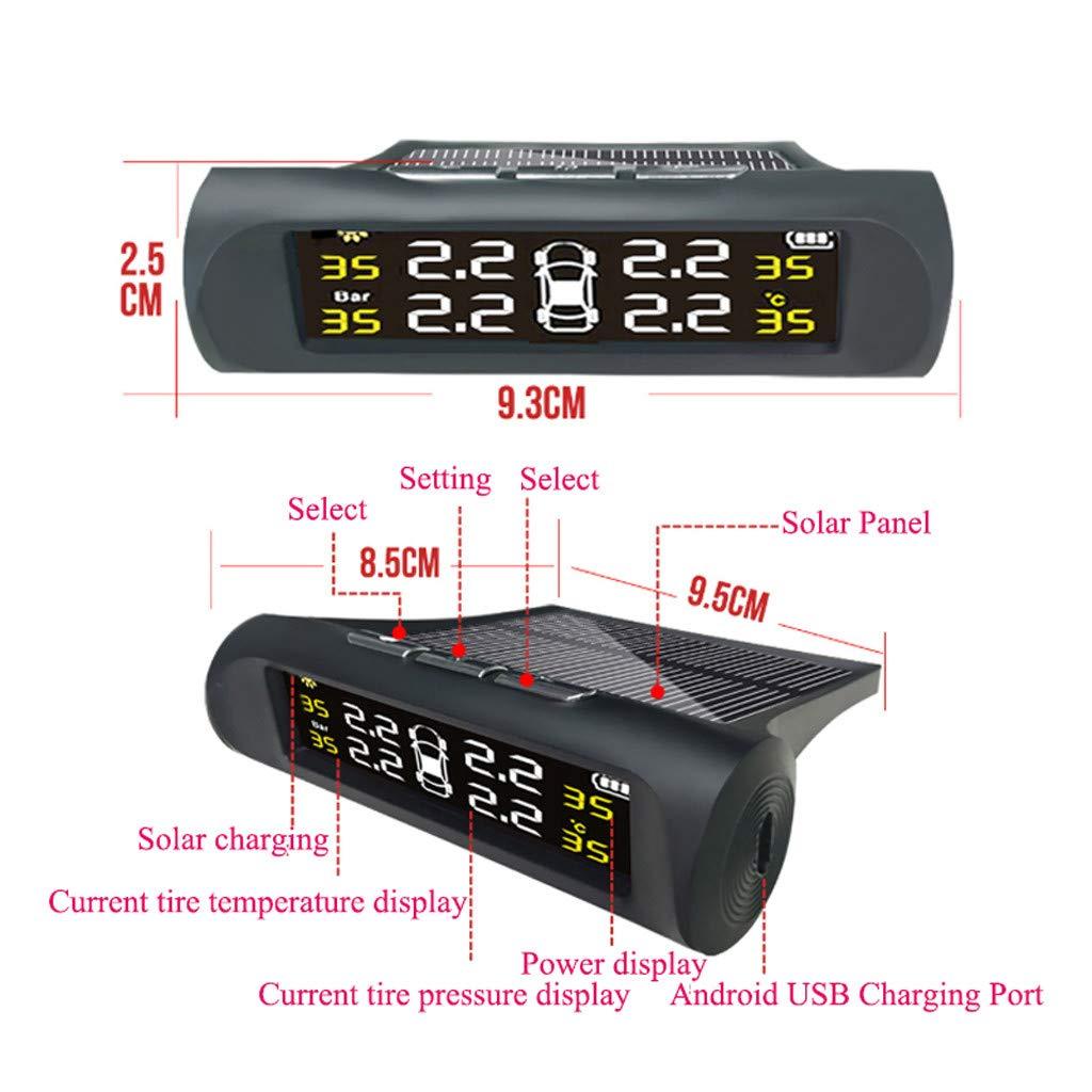 Zweirad Motorrad usw. TPMS Reifendruck Wireless LCD Monitoring System mit 4 Externe Sensorenund Temperatur anzeigen VNEIRW Solar Auto Reifendruckkontrollsystem f/ür Auto Schwarz