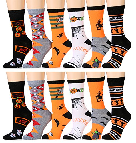 Yacht & Smith Women's Halloween Novelty Cute Socks, Festive Ankle, Knee High, Crew (Pack A)