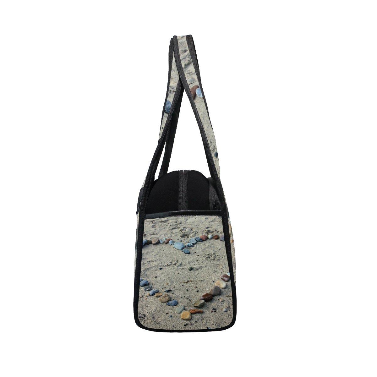 AHOMY Canvas Sports Gym Bag Beach Stone Love Travel Shoulder Bag