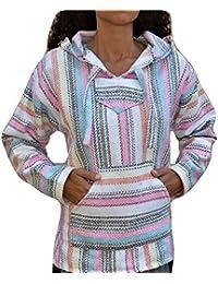 Baja Hoodie Pink Fiesta Mexican Drug Rug Pullover Poncho Sweatshirt
