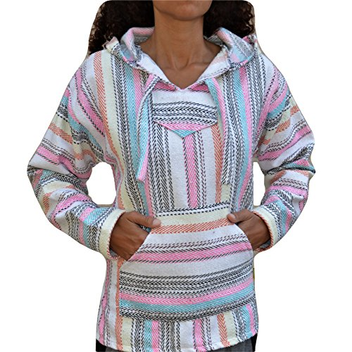 Baja Hoodie Native Nation Mexican Drug Rug Pullover Poncho Sweatshirt (Medium) Black