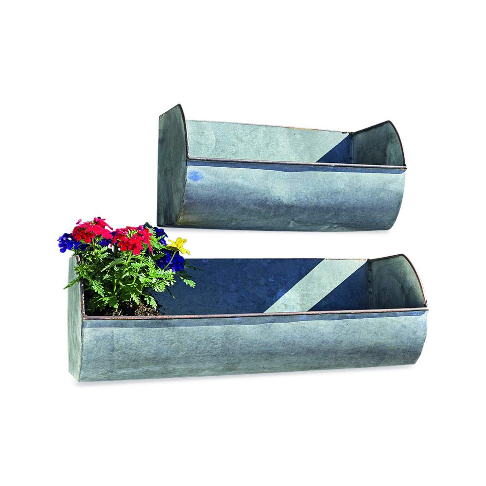 WHW Whole House Worlds Farmers Market Wall Planters, Set of 2, Galvanized Metal, Rolled Edges, Weathered Distressed Finish, Terracotta Undertones, 17 3/4 and 11 3/4 Inches Wide