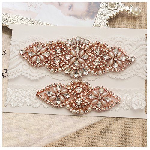 yanstar Wedding Bridal Garter Off-White Stretch Lace Bridal Garter Sets with Rose Gold Rhinestones Clear Crystal Pearl for Wedding ()