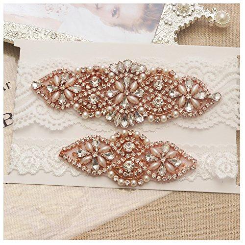 yanstar Wedding Bridal Garter Off-White Stretch Lace Bridal Garter Sets with Rose Gold Rhinestones for Wedding ()