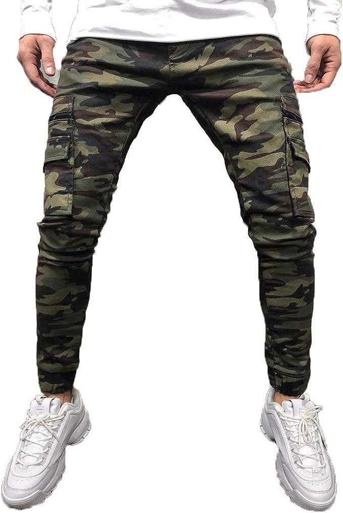 abbastanza FRAUIT Pantaloni Uomo con Tasche Laterali Slim Pantaloni Ragazzo QS31