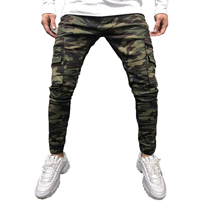 FRCOLT Fashion Mens Sport Jogging Side Pockets Camouflage ...