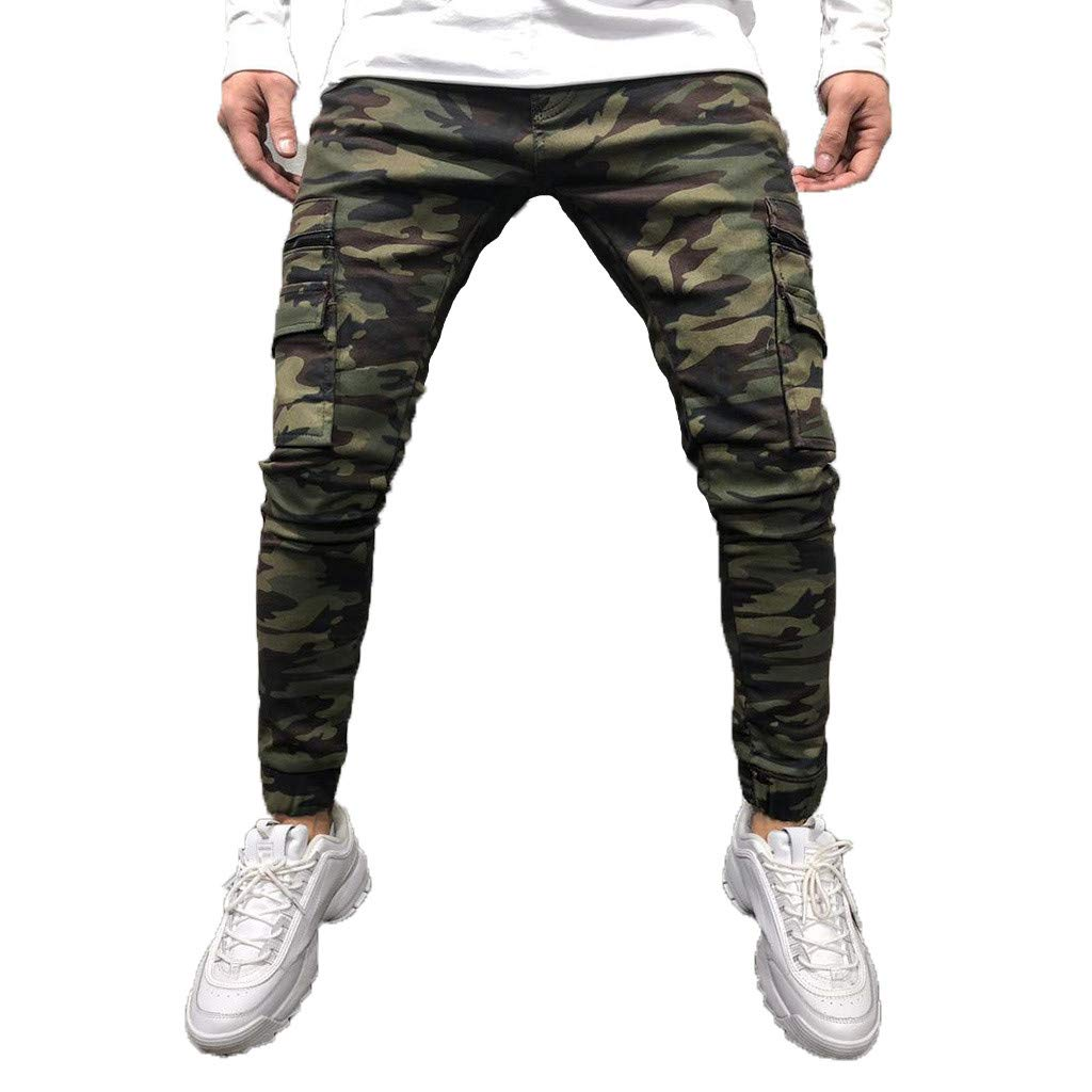 Men's Jogging Pants,Clearance-Fashion Casual Slim Fit Leisure Hip-hop Trousers Camouflage Cargo Pant with Pockets