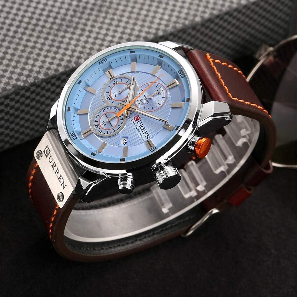 DLYGH Montres pour Homme Mode Homme PU Cuir Sport Montre-Bracelet Casual Montre résistant à l'eau Quartz (Color : 6#) 21#